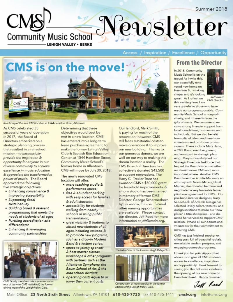 CMS 2018 Summer Newsletter Cover