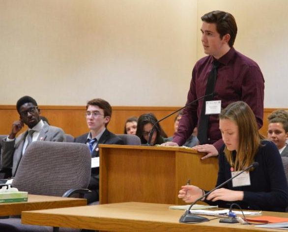 High school students play the roles of attorneys and witnesses during Mock Trial
