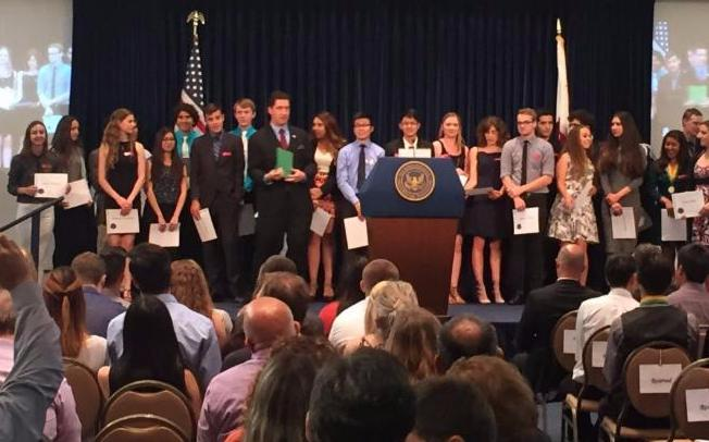 Ronald Reagan Citizen Scholar Institute students being honored at the Reagan Library