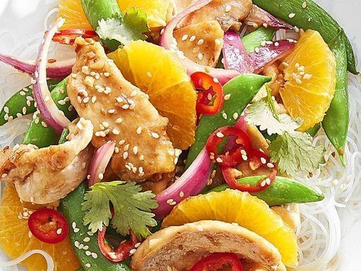 Sugar snap, orange and teriyaki stir-fry