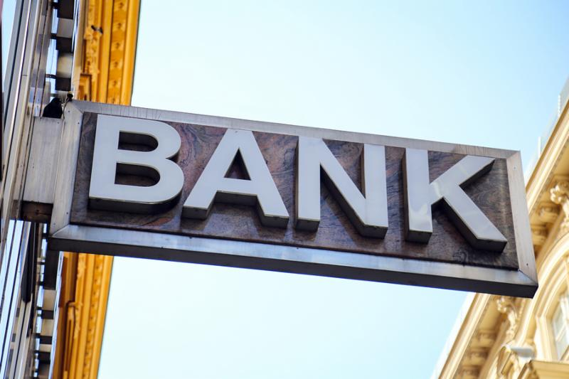 Old  Bank  sign on a building exterior.