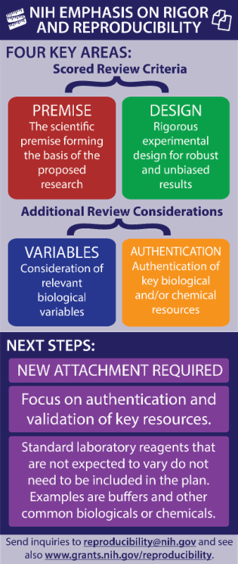 Infographic that highlights the four key areas of NIH emphasis on scientific rigor and reproducibility in grant applications. It also includes next steps_ new attachment required_ focus on authentication and validation of key resources_ and standard laboratory reagents that are not expected to vary do not need to be included. Send inquiries to reproducibility_nih.gov or visit www.grants.nih.gov_reproducibility.