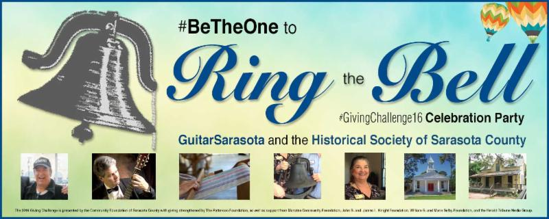 _GivingChallenge16 _ Ring the Bell Party for GuitarSarasota and the Historical Society of Sarasota County September 20 from 4-7pm at the Crocker Memorial Church _1901_ in Pioneer Park_ 1260 12th Street for  GuitarSarasota and Historical Society of Sarasota supporters_ sponsors_ board members_ volunteers_ friends_ attendees_ and donors