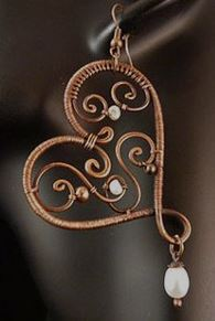 Wire Weave Heart Earring