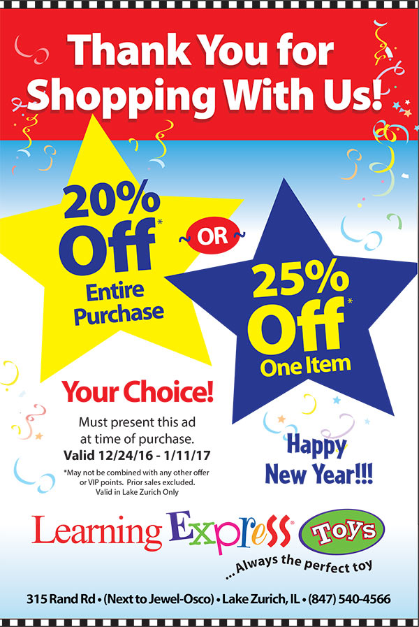 For Learning Express Toys we currently have 9 coupons and 1 deals. Our users can save with our coupons on average about $ Todays best offer is Off Your Next Purchase of $ Or More. If you can't find a coupon or a deal for you product then sign up for alerts and you will get updates on every new coupon added for Learning Express Toys.