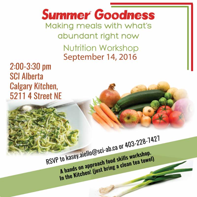 Summer Goodness with what_s abundant now Nutrition Workshop on Sept. 14 in Calgary