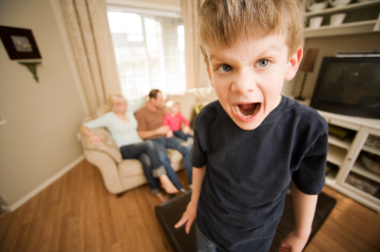Angry boy with family