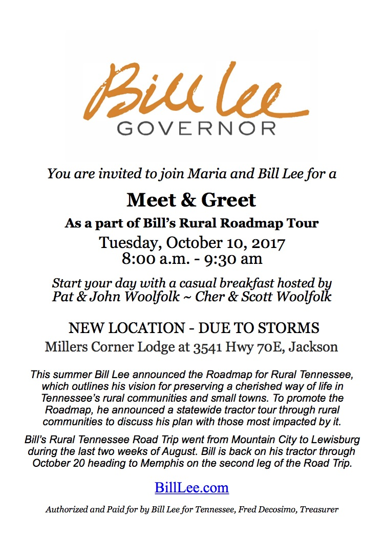 Bill Lee traveling to West Tennessee Tomorrow