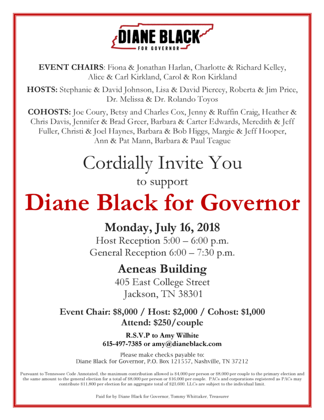 An invitation for you to spend some money: Diane Black Monday July 16, 2018