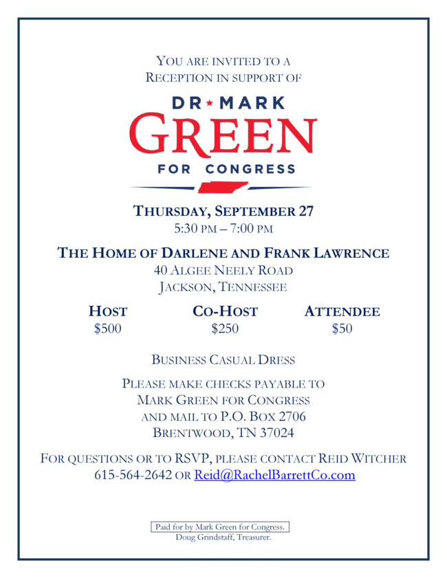 Dr. Mark Green Reception