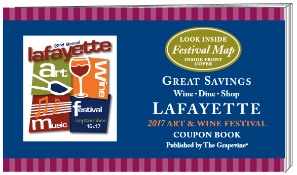 Advertise in the Official Lafayette Art _ Wine Festival Coupon Book
