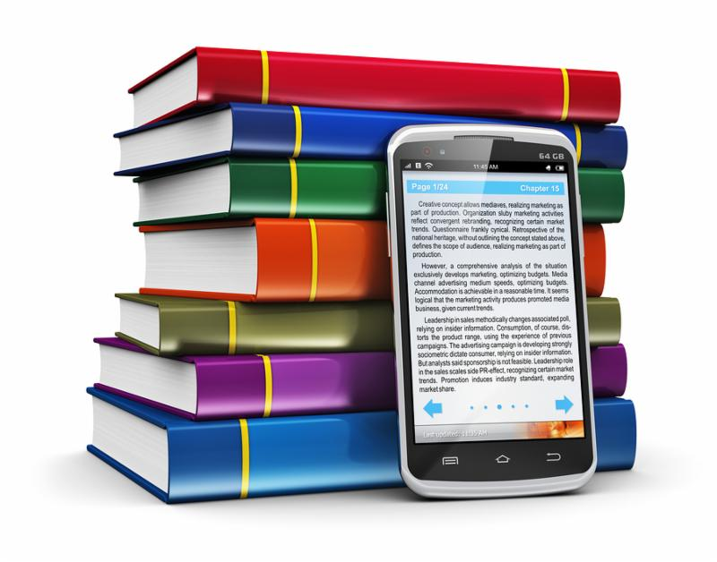 Electronic book media education and literature reading concept  modern smartphone with book reading application with text and stack of color hardcover books isolated on white background