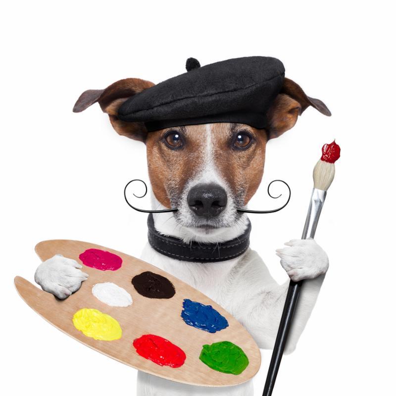 painter artist dog color palette and brush