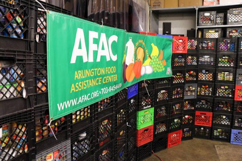photo of AFAC food crates & banner