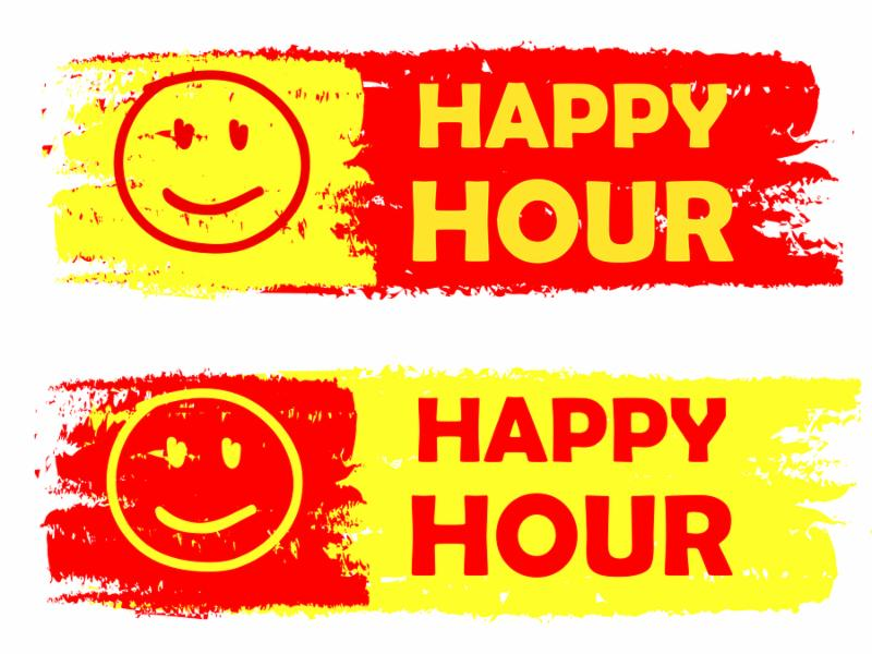 happy hour with smile signs banners - text in yellow and red drawn labels with symbols business commerce shopping concept