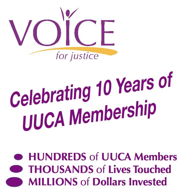 VOICE Celebrating 10 years of UUCA membership