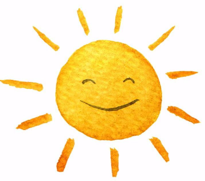 Cute cartoon sun. Hand drawn watercolor illustration Cute smiling sun. Water-color painted illustration. Isolated on white background