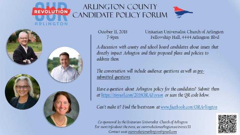 Arlington County Candidate Policy Forum - Oct 11, 7-9 pm