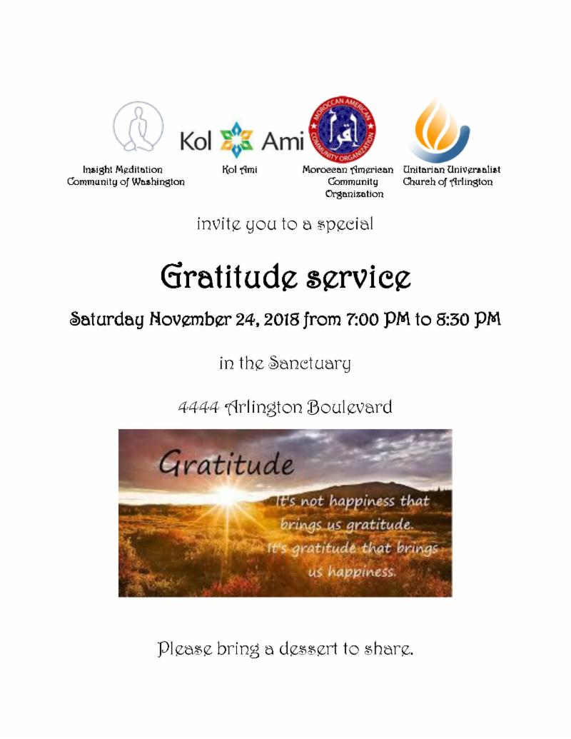 Gratitude Service - Sat., Nov. 24, 7 pm