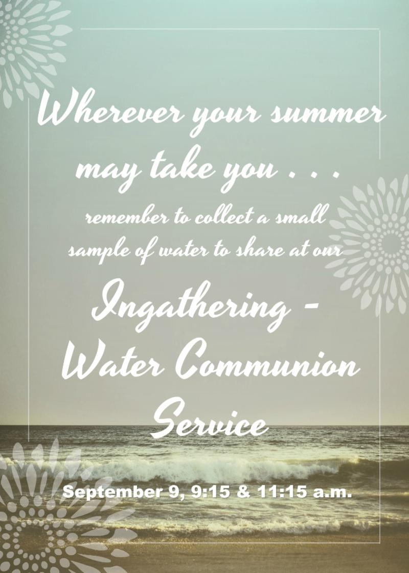Water Communion reminder flyer