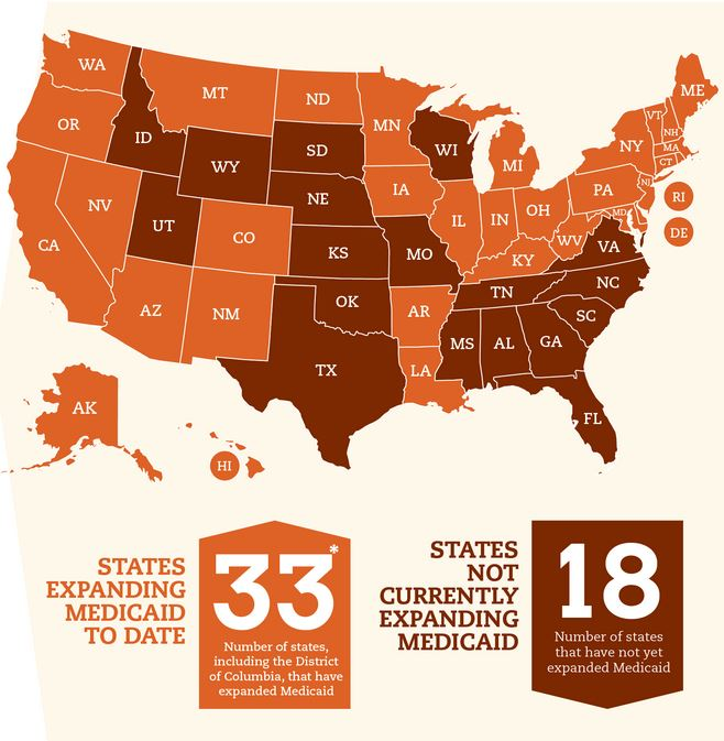 US map outlining states w/ & w/o Medicaid expansion