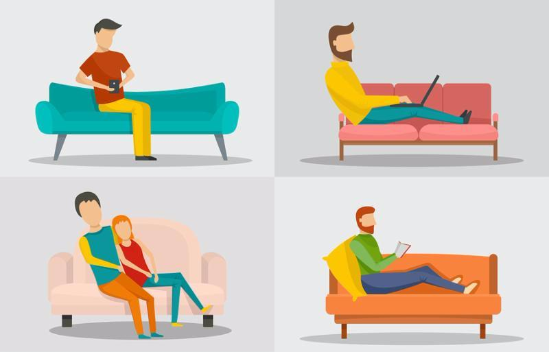 Sofa chair room couch banner concept set. Flat illustration of 6 sofa chair room couch banner horizontal concepts for web