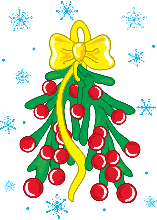 ful color vibrant illustration of christmas mistle toe.
