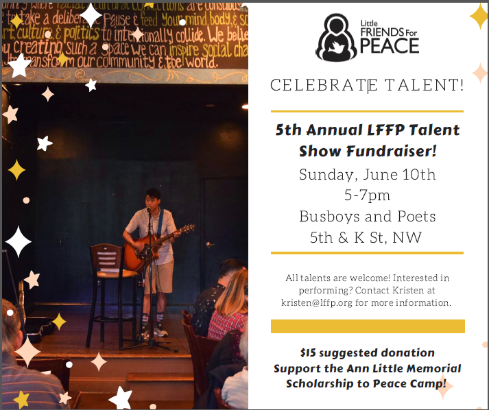 Peace Camp Fundraiser @ Busboys & Poets, DC flyer