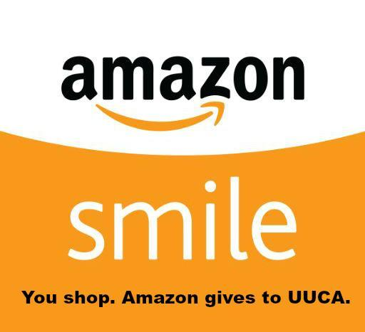 AmazonSmile logo. You Shop. Amazon gives to UUCA