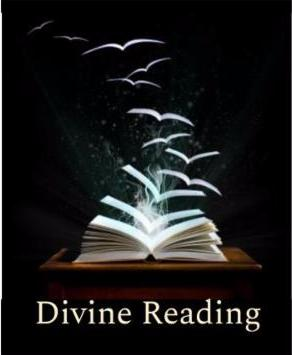 Divine Reading logo - book with pages flying away