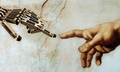 robotic hand and hand from Michelangelo's Sistine chapel hand
