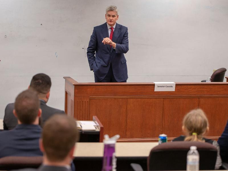 U.S. Sen. Bill Cassidy talks to LSU Law students