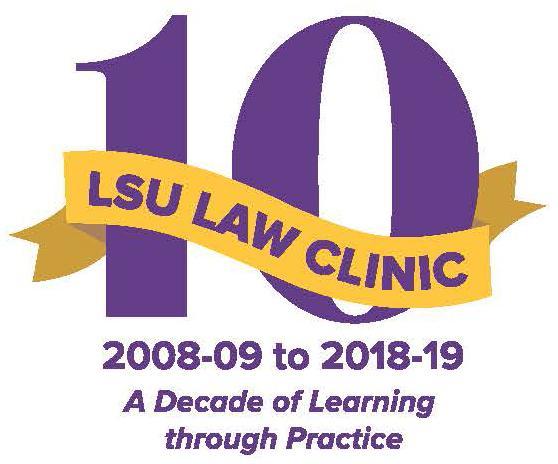 LSU Law Clinic's 10th anniversary logo