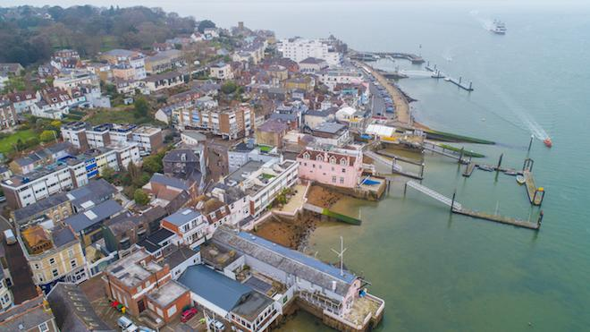 Aerial view over the waterfront at Cowes