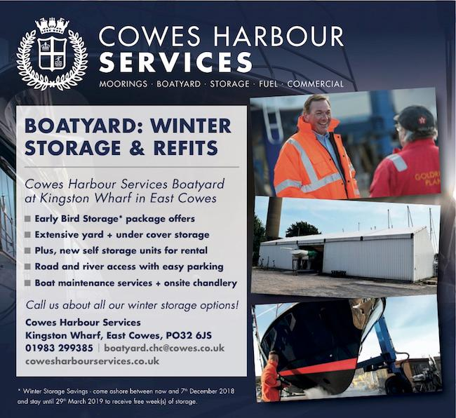 Winter Storage at Cowes Harbour Services Boatyard