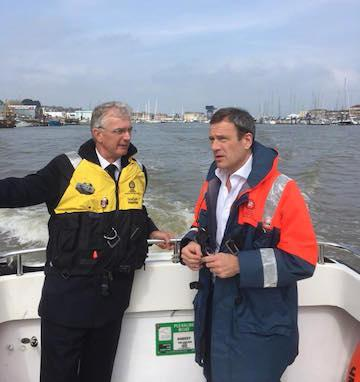 MP Bob Seely and Cowes Harbour Master Capt. Stuart McIntosh