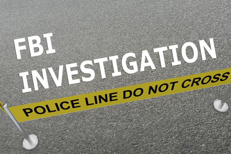 3D illustration of  FBI INVESTIGATION  title on the ground in a police arena