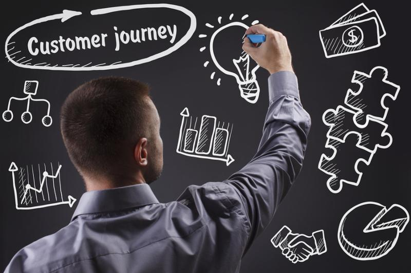 Technology internet business and marketing. Young business man writing word  Customer journey