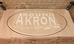 Around Akron with Blue Green-Akron Maker Space Sign
