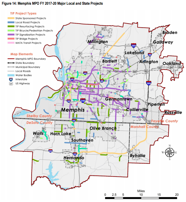 map of memphis area projects