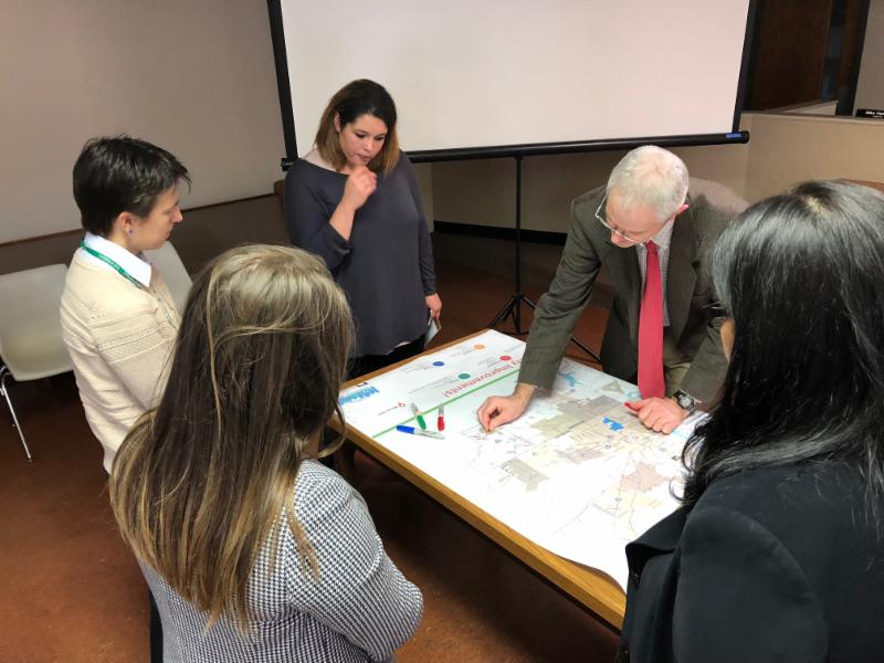Byhalia Public Meeting: Participants place stickers on a map of the region showing where transportation improvements are needed.