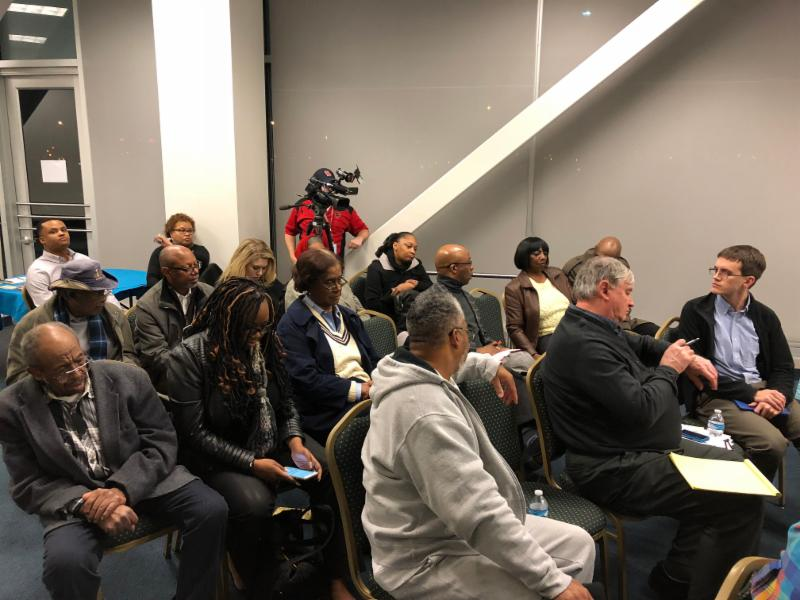 Memphis Public Meeting - MATA Airways Transit Center: Participants seated auditorium style listen to a presentation and question and answer session.
