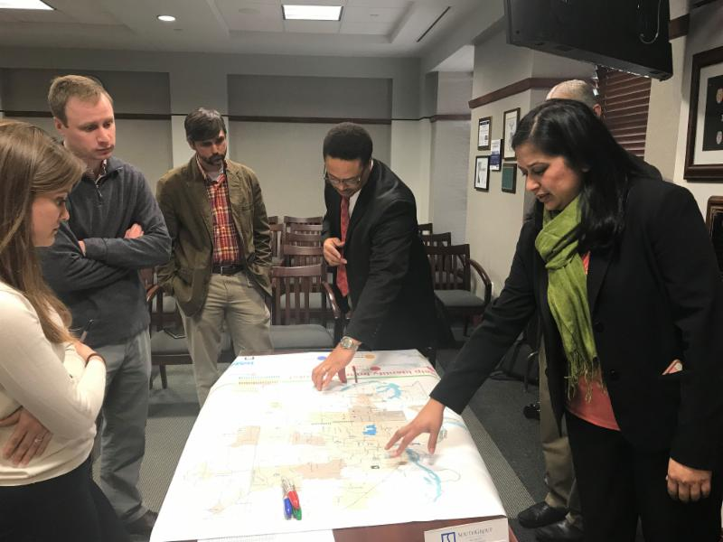 Hernando Public Meeting: Participants place stickers on a map of the region where transportation improvements are needed.