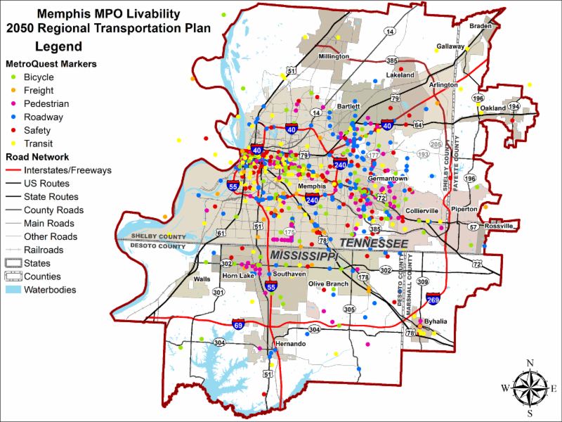 Map from the MetroQuest survey showing all the markers placed where the public indicated transportation improvements (bicycle, pedestrian, freight, roadway, safety, and transit) are needed.