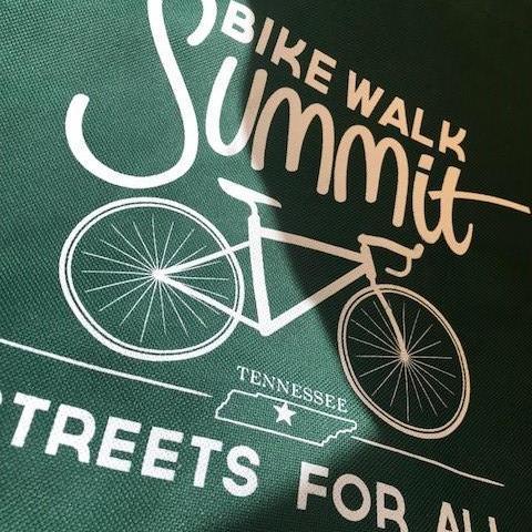 Close up shot of the 2018 TN Bike Walk Summit tote bag