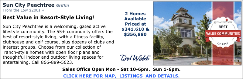 New Homes in Griffin at Sun City Peachtree by Del Webb.