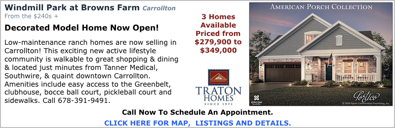 New Homes in Carrollton at Windmill Park at Browns Farm by Traton Homes.