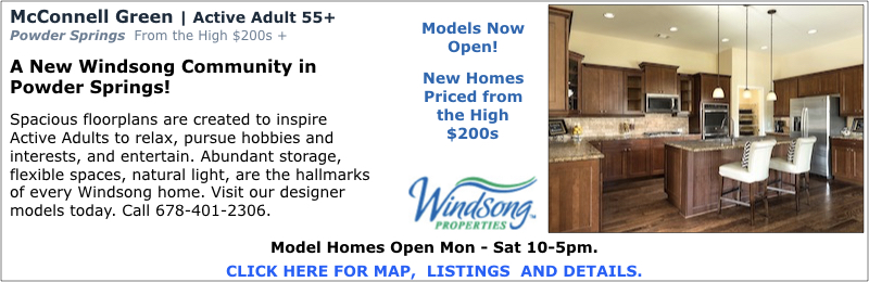 New Homes in Powder Springs at McConnell Green by Windsong Properties.