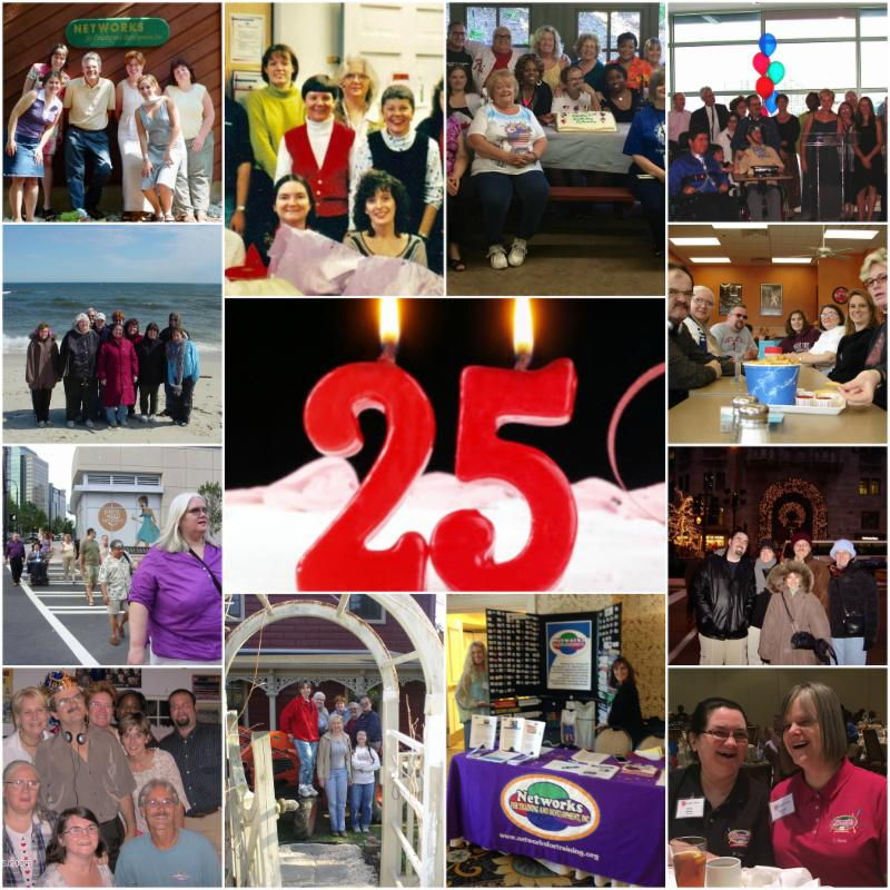 collage of Networks staff through the years with a candle shaped like the number 25 in center