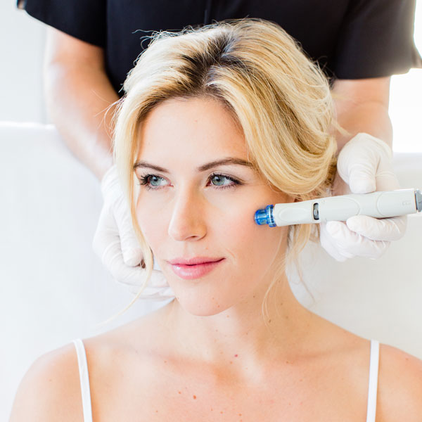 HydraFacial performed on blonde model -New Radiance Cosmetic Center